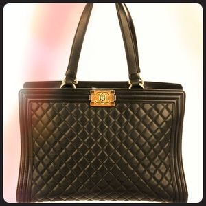 Gorgeous Chanel Calfskin Quilted Le Boy Tote